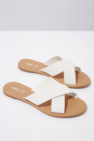 Everyday Scarlett Xover Slide, WHITE WOVEN PU