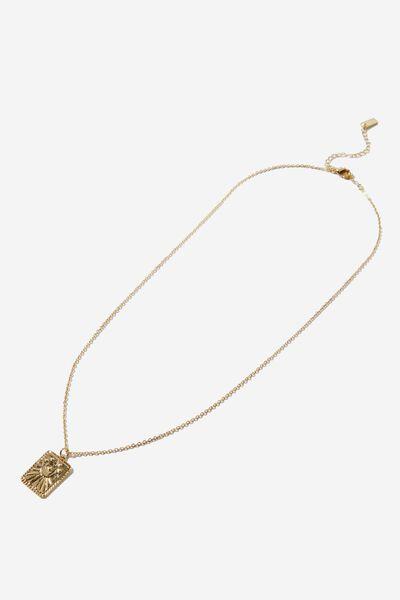 Premium Pendant Necklace, GOLD PLATED MYSTICAL MOON