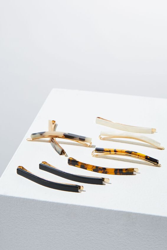 8Pk Mini Hair Slide, BLACK/TORT/PEARL/MILKY TORT