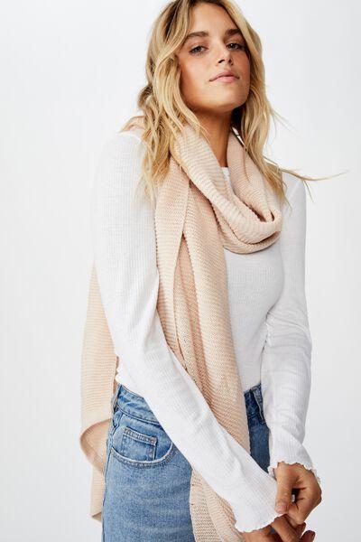 Rebecca Rib Knit Scarf, OAT MARLE