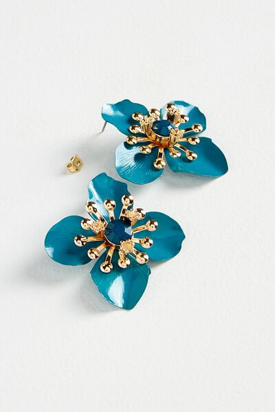 Flower Statement Earring, JUNE BUG/GOLD