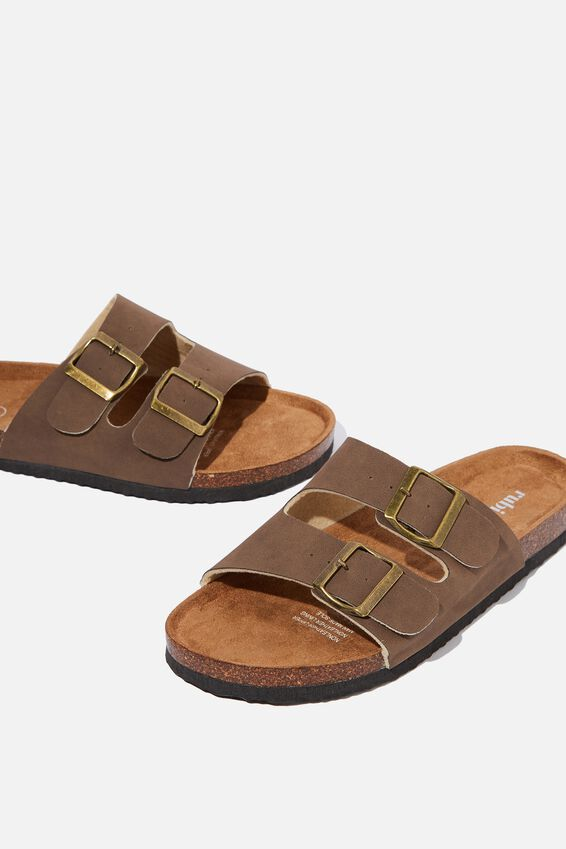 Rex Double Buckle Slide, BROWN NUBUCK
