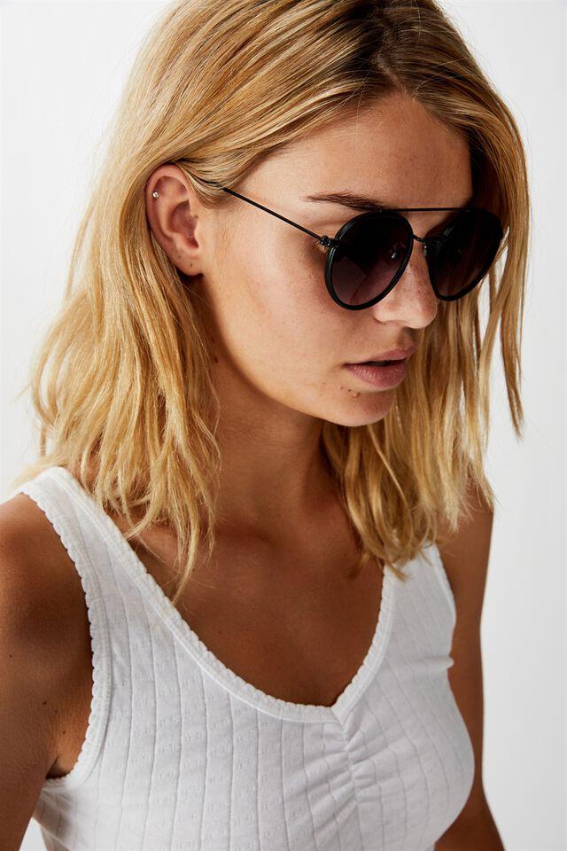 Demi Top Bar Metal Sunglasses, BLACK