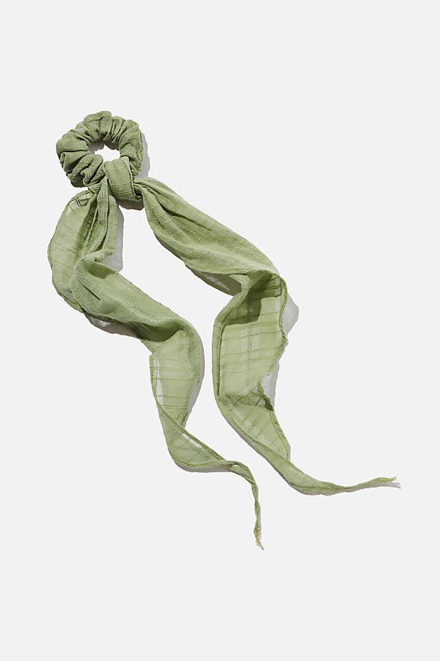 New York Convertible Scrunchie, NATURAL DYE DUSTY GREEN