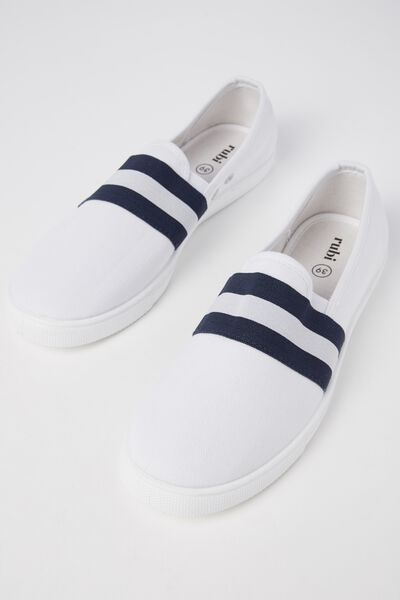 Harlow Slip On, WHITE/NAVY STRIPE