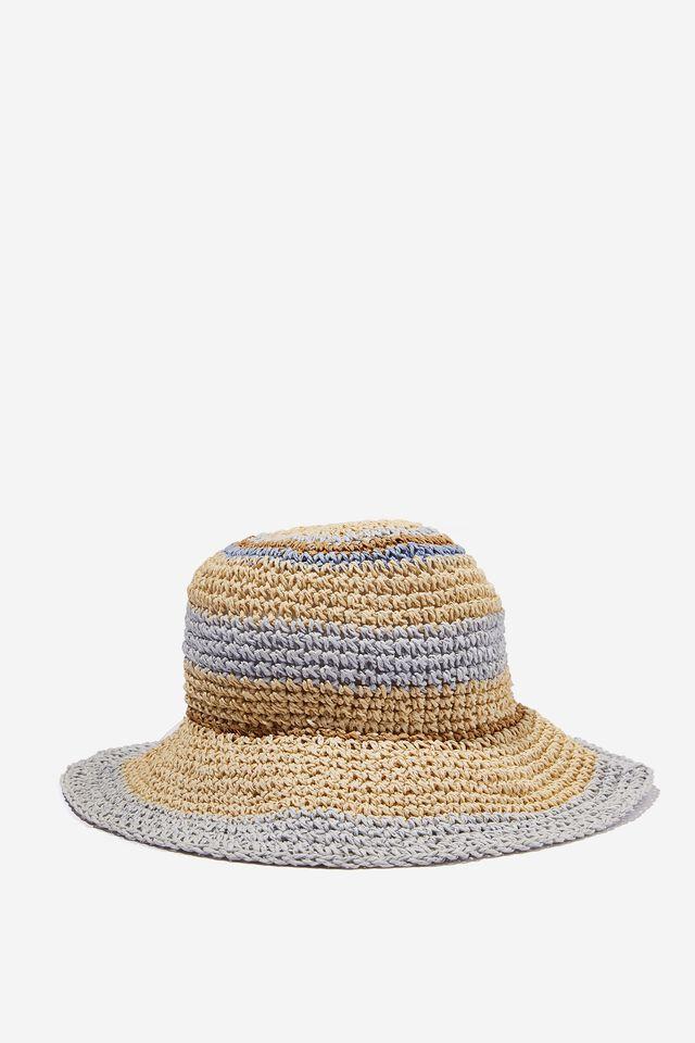 Kimberley Crochet Bucket Hat, SKYLIGHT BLUE STRIPE