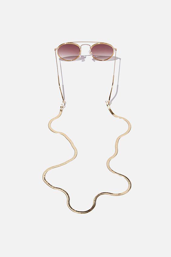 Gigi Glasses Chain, GOLD HERRINGBONE