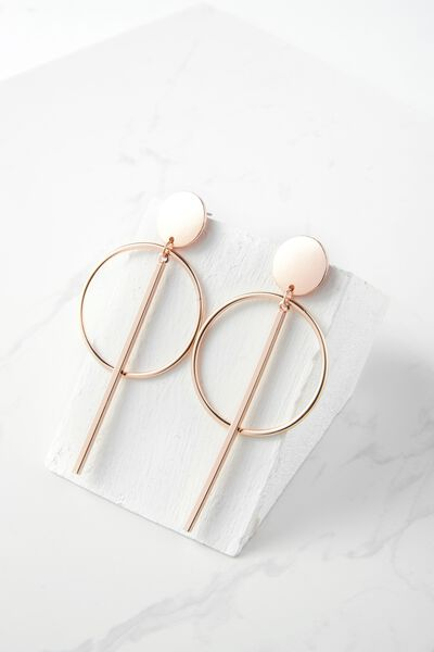 Metal Double Hoop Statement Earring, ROSE GOLD