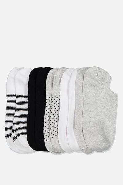 5Pk Sports Low Cut Sock, BLACK AND WHITE SPOT MIX