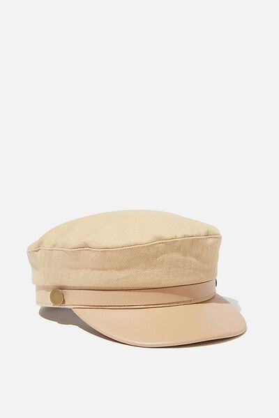 Billie Baker Boy, CAMEL HERRINGBONE/ PU TRIM
