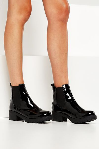 Kenickie Ankle Boot, BLACK PATENT