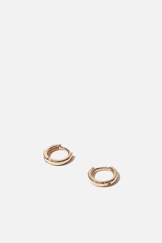 Ear Party Plain Huggie Hoops, GOLD