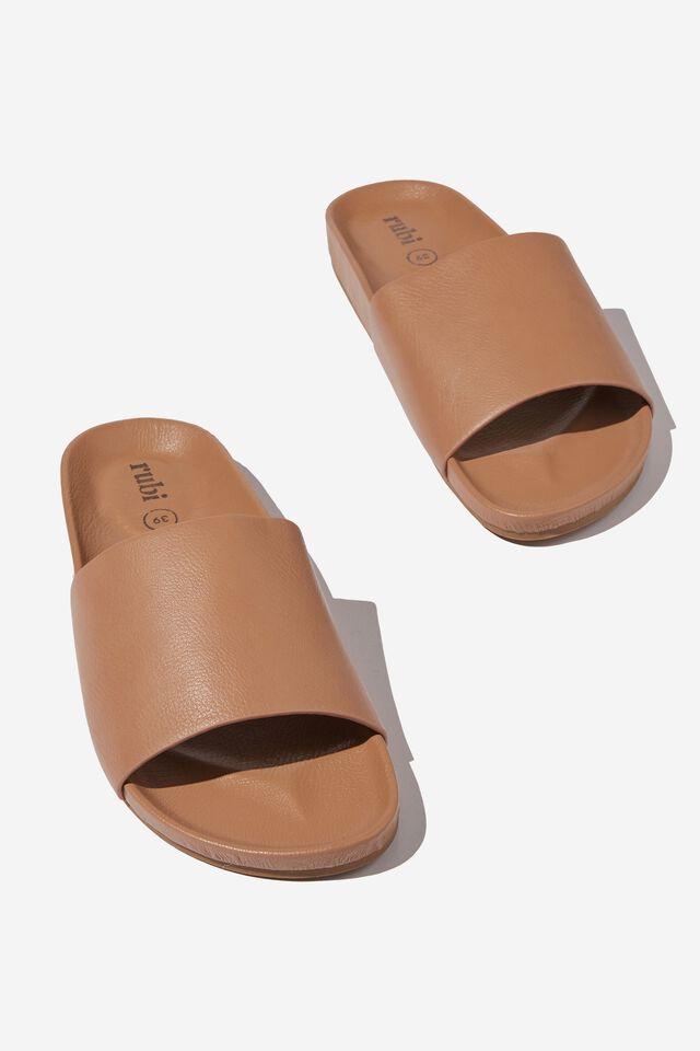 Dash Single Strap Slide, CAMEL PU