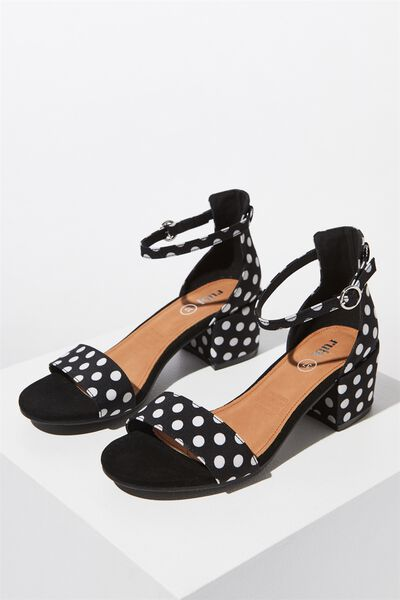 Jasmine Low Block Heel, BLACK SPOT