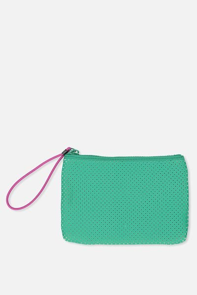 Active Perforated Clutch, KELLY GREEN