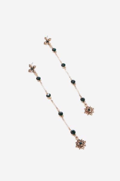 Mila Baroque Earring, EMERALD/GOLD