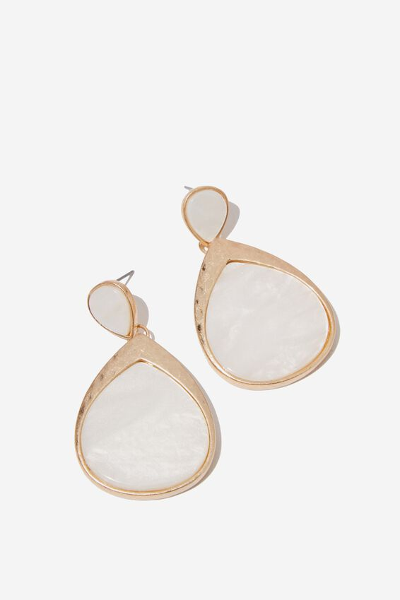 Selma Classic Earring, WHITE MOP/GOLD