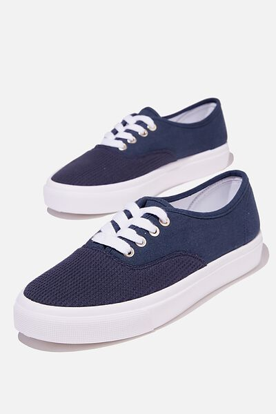 Jamie Lace Up Plimsoll, NAVY WAFFLE