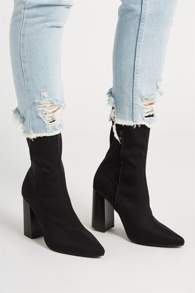 Alana Sock Boot, BLACK STRETCH