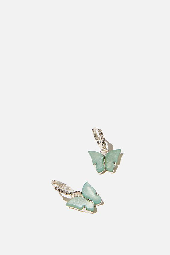 Ear Party Luxe Huggie Hoops, SILVER TURQUOISE BUTTERFLY