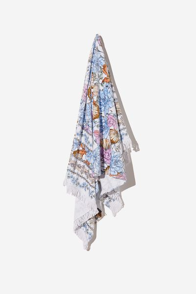 Bondi Rectangle Towel, WHITE/BLUE SHELL FLORAL