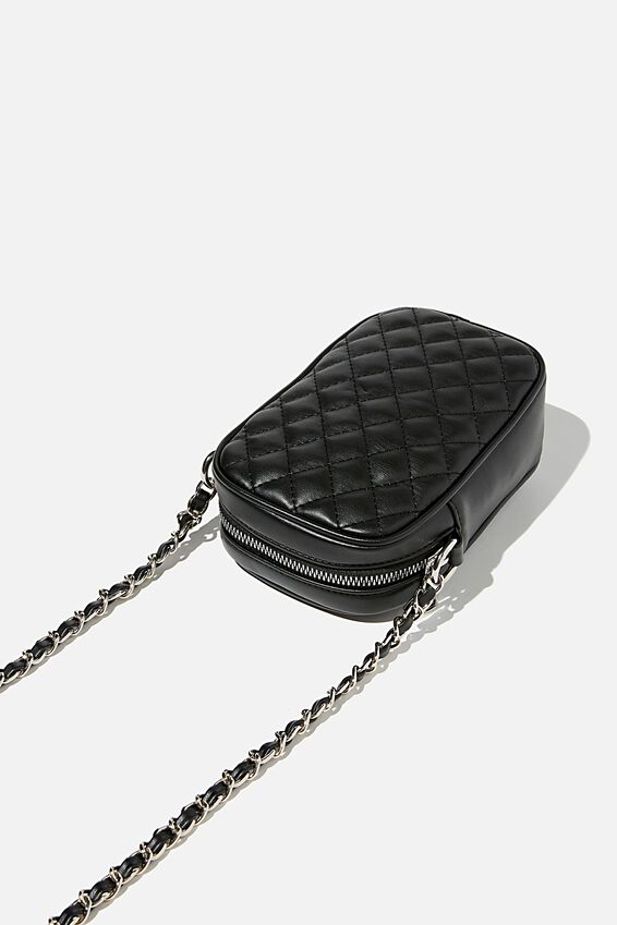 Hailey Mini Quilted Cross Body Bag, BLACK