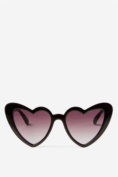 Lucky Heart Sunglasses, BLACK GLITTER
