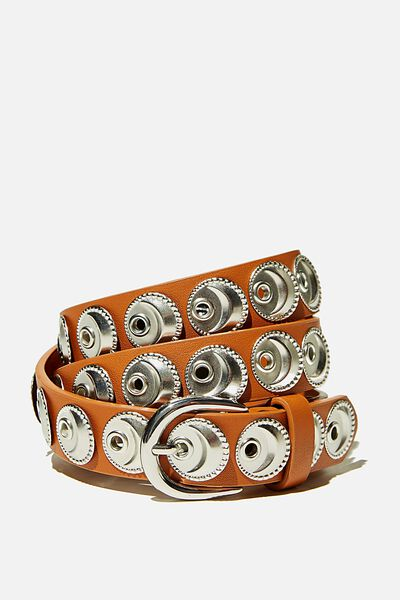Wild Child Studded Belt, TAN W SILVER