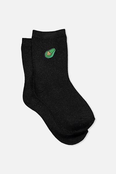 Embroidered Crew Sock, BLACK SPARKLE/AVOCADO