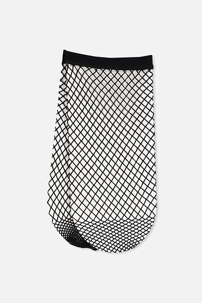 Mid Length Freida Fancy Sock, BLACK MINI FISHNET