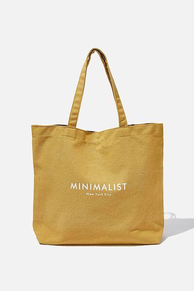 Minimalist Washed Tote, MUSTARD