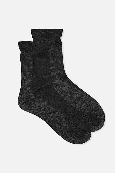 Toto Frill Sparkle Sock, BLACK METALLIC