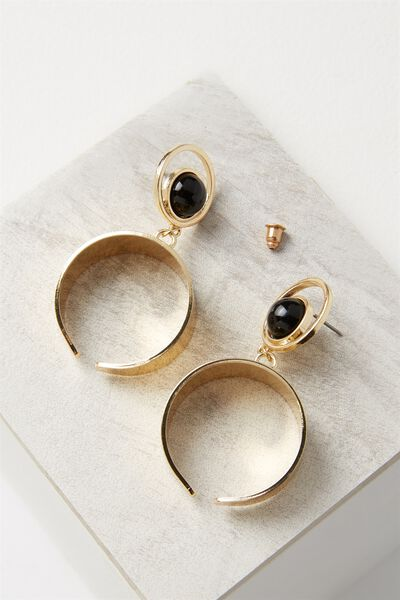 Moon Stud Statement Earring, GOLD/BLACK