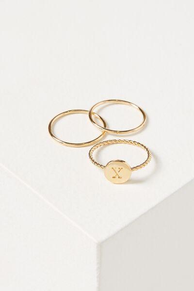 Letter Pendant Ring, GOLD - X