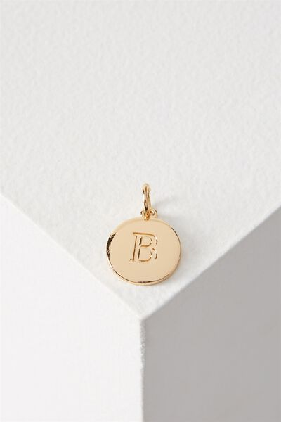 Letter Flat Pendant Charm, GOLD - B
