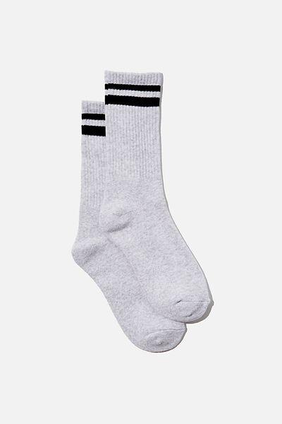 Club House Crew Sock, GREY MARLE/BLACK