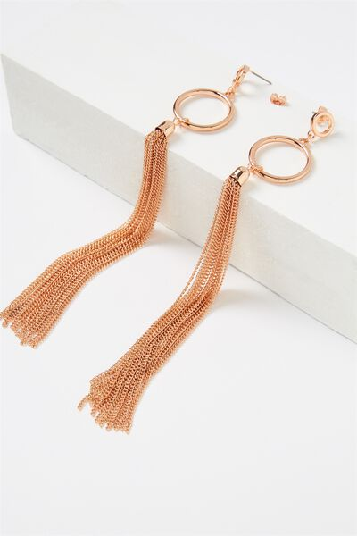 Door Knocker Metal Tassel Shoulder Duster, ROSE GOLD