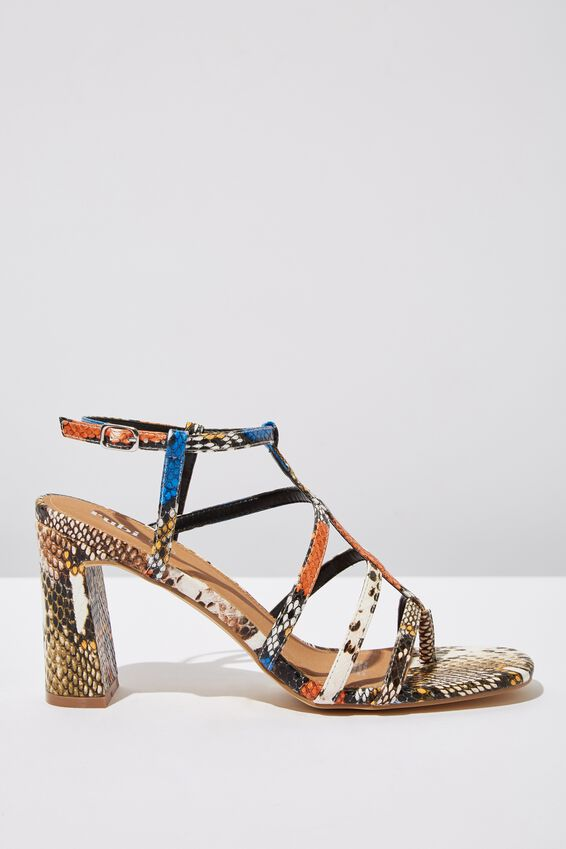 Farrah Strappy Toe Post Heel, COLOURED TEXTURE PU