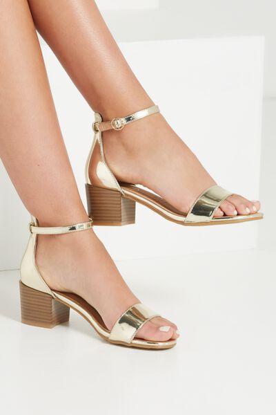 Ivy Low Block Heel, GOLD NAT STACK