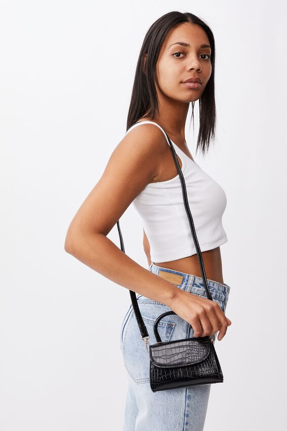 Lola Cross Body Bag, BLACK TEXTURE
