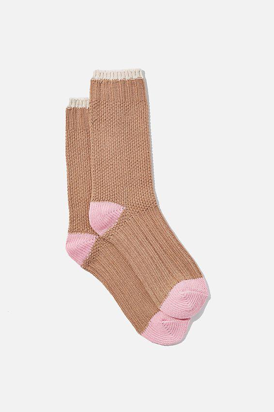 Colour Block Cosy Sock, COCOA BROWN/CHERRY BLOSSOM