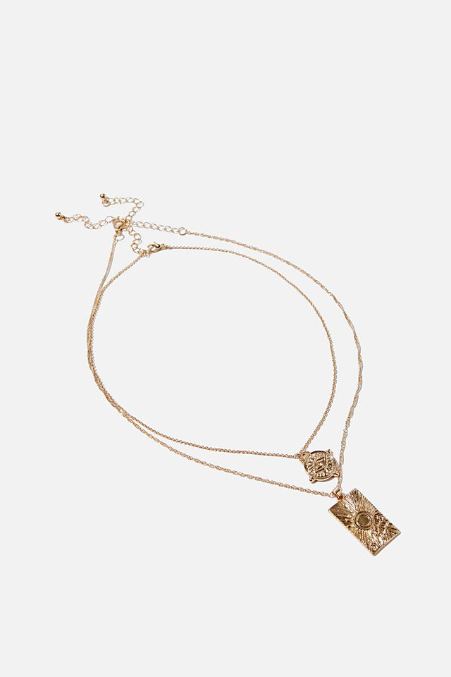 Ray Of Light Trinkets Necklace, GOLD