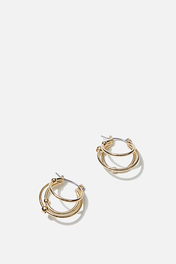 Luxe Layers Small Triple Stack Hoop, GOLD