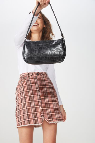 90S Underarm Bag, BLACK CROC