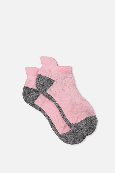 High Impact Ankle Sock, PETAL PINK/CHARCOAL