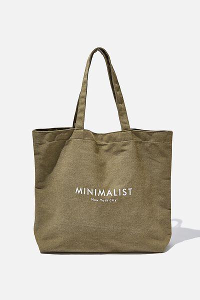 Minimalist Washed Tote, KHAKI