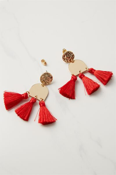 Kingsley Metal Tassel Statement Earring, RED