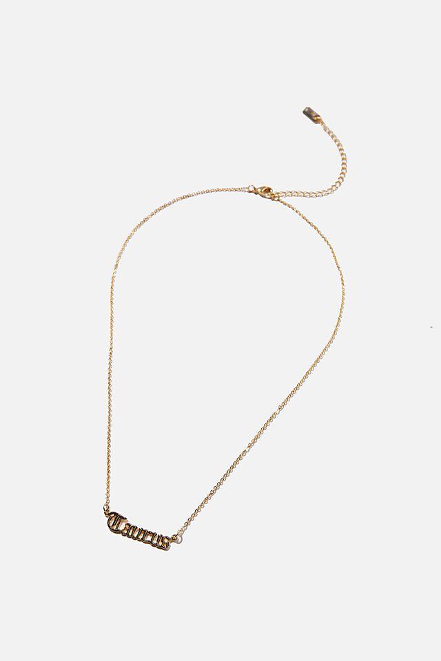 Premium Pendant Necklace, GOLD PLATED TAURUS