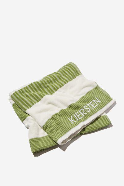 Personalised Bondi Rectangle Towel, SAGE HORIZONTAL STRIPE