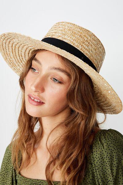 Sandi Sunken Crown Boater Hat, NATURAL